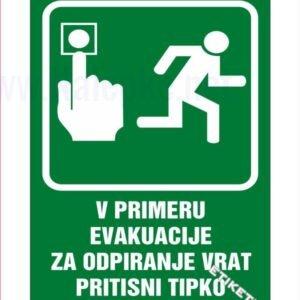 Evakuacijske poti in stopnišča V primeru evakuacije za odpiranje vrat pritisni tipko