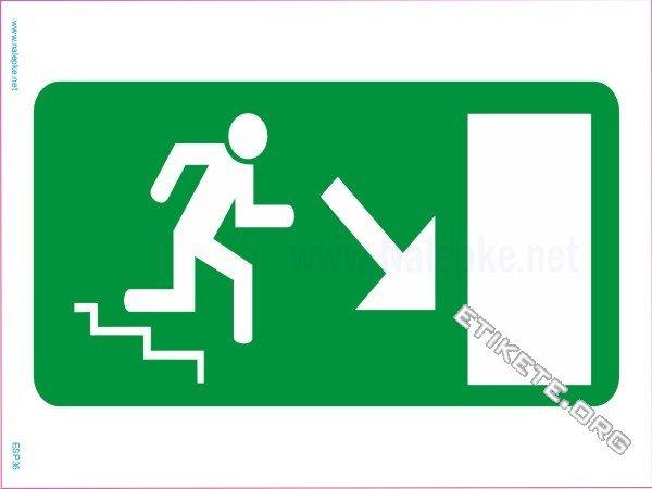 Evakuacijske poti in stopnišča Izhod v sili – desno navzdol