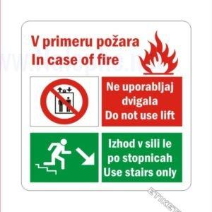 Gasilska oprema Prepovedana uporaba dvigala v primeru požara