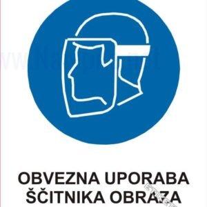 Opozorilni znaki obveze Obvezna uporaba ščitnika obraza 1