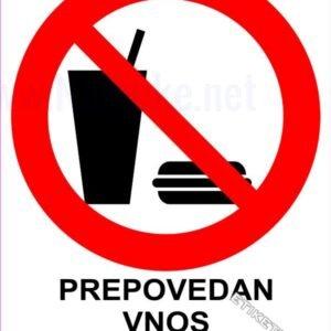 Znaki prepovedi Prepovedan vnos hrane in pijače 1