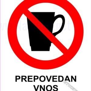Znaki prepovedi Prepovedan vnos pijače 1
