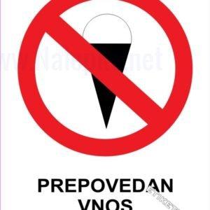 Znaki prepovedi Prepovedan vnos sladoleda 1