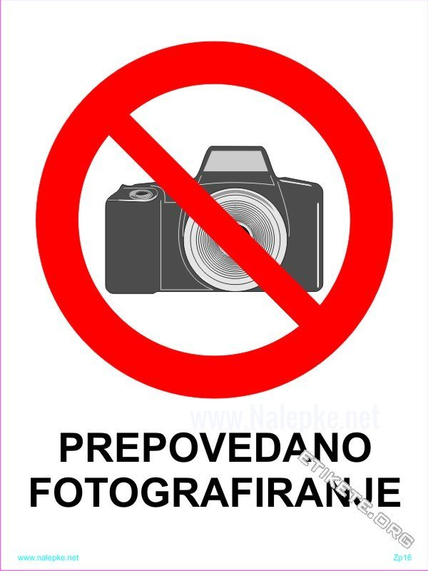 Znaki prepovedi Prepovedano fotografiranje 1