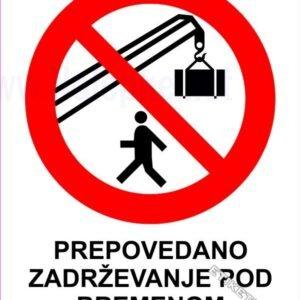 Znaki prepovedi Prepovedano zadrževanje pod bremenom 3