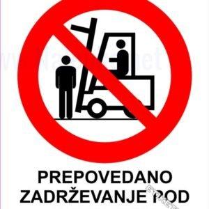 Znaki prepovedi Prepovedano zadrževanje pod bremenom 1