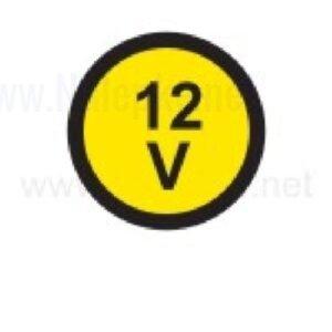Električna napetost nalepka 12V, premer. 36mm, pola: 4 nalepke