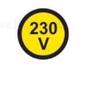 Električna napetost nalepka 230V, premer. 36mm, pola: 4 nalepke