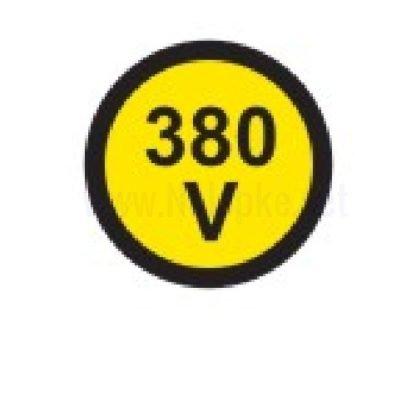 Električna napetost nalepka 380V, premer. 36mm, pola: 4 nalepke