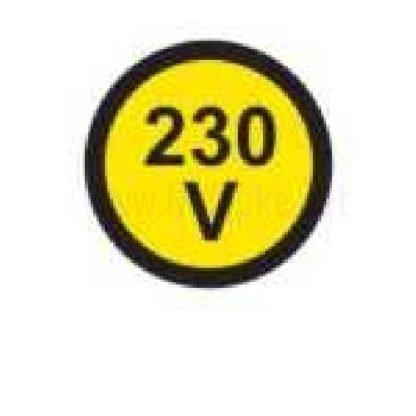 Električna napetost nalepka 230V, premer. 18mm, pola: 50 nalepk