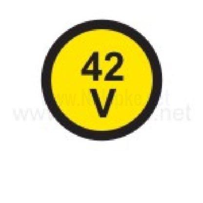 Električna napetost nalepka 42V, premer. 36mm, pola: 4 nalepke