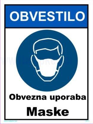 Opozorilni znaki covid CORONA VIRUS obvezna uporaba maske