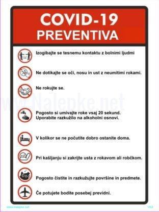 Opozorilni znaki covid COVID 19 PREVENTIVA – koronavirus