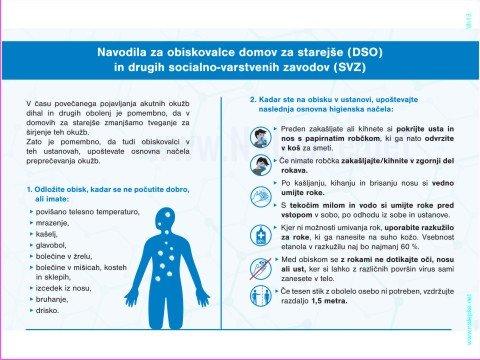 Opozorilni znaki covid Navodila za obiskovalce domov za starejše (DSO) in drugih socialno-varstvenih zavodov (SVZ)
