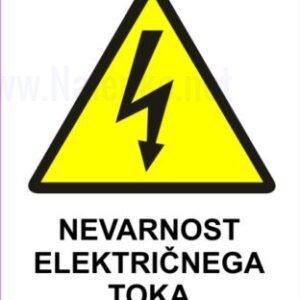 Opozorilni znaki Nevarnost električnega toka