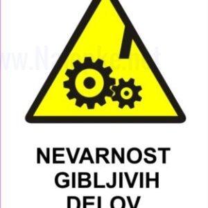 Opozorilni znaki Nevarnost gibljivih delov