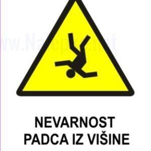Opozorilni znaki Nevarnost padca iz višine