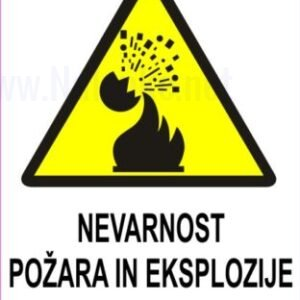 Opozorilni znaki Nevarnost požara in eksplozije