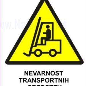 Opozorilni znaki Nevarnost transportnih sredstev