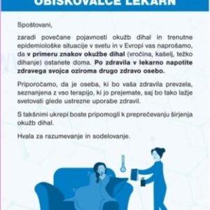 Opozorilni znaki covid Obvestilo za obiskovalce lekarn