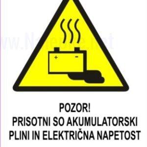 Opozorilni znaki POZOR! PRISOTNI SO AKUMULATORSKI PLINI IN ELEKTRIČNA NAPETOST