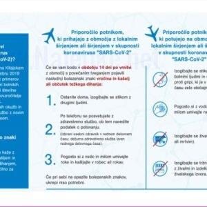 """Opozorilni znaki covid Priporočilo potnikom, ki prihajajo z območja z lokalnim širjenjem ali širjenjem v skupnosti koronavirusa """"SARS-CoV-2"""""""