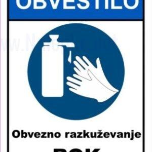 Opozorilni znaki covid Korona virus – obvezno razkuževanje rok
