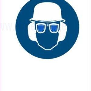 Opozorilni znaki obveze Obevzna uporaba čelade slušnikov in očal
