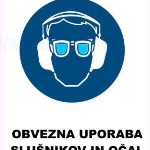 Opozorilni znaki obveze Obevzna uporaba slušnikov in očal 2