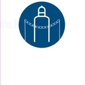 Opozorilni znaki obveze zakleni jeklenko z verigo