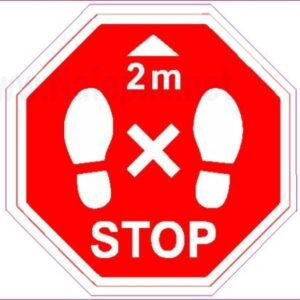 Opozorilni znaki covid Talna nalepka-varnostna razdalja- premer 20 cm