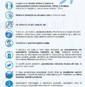Opozorilni znaki covid Navodila za preprečevanje širjenja novega koronavirusa