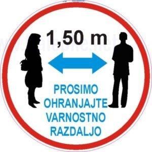 Opozorilni znaki covid talna nalepka prosimo ohranjajte varnostno razdaljo