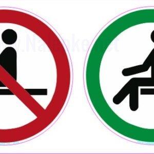 Opozorilni znaki covid Prepovedano sedenje – dovoljeno sedenje – premer 100 mm