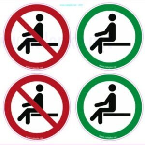 Opozorilni znaki covid Ohranjanje varnostne razdalje – sedenje premer 60 mm